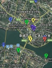 Map of Tourism Facilities in Batticaloa District