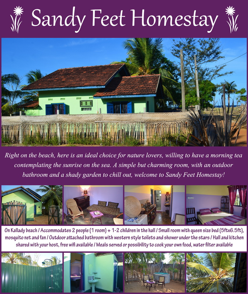 Homestays in Batticaloa - Kallady - Sandy Feet Homestay